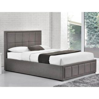 An Image of Hannover Ottoman Fabric Double Bed In Grey