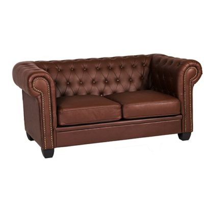 An Image of Winston Leather And PVC 2 Seater Sofa In Auburn Red