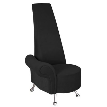 An Image of Avalon Right Mini Potenza Chair In Black Fabric And Chrome Legs