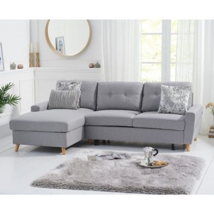 An Image of Correen Linen Left Hand Facing Chaise Sofa Bed In Grey