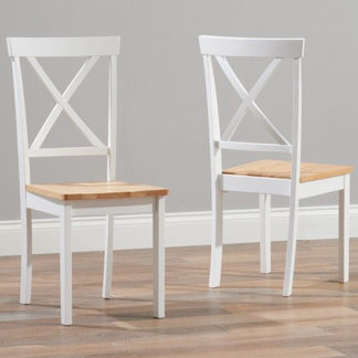 An Image of Chertan Wooden Oak And White Dining Chairs In Pair
