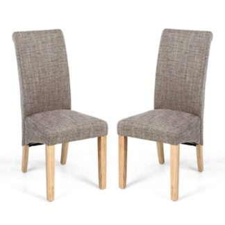 An Image of Karta Scroll Back Tweed Oatmeal Dining Chairs In Pair