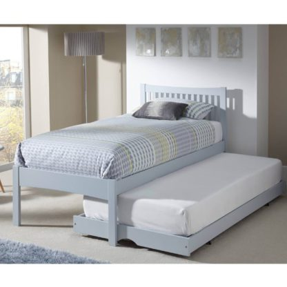 An Image of Mya Hevea Wooden Single Bed and Guest Bed In Grey