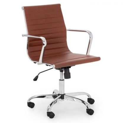 An Image of Wollano Faux Leather Office Chair In Brown With Chrome Base