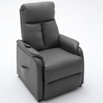 An Image of Ofelia Relaxation Chair In Grey Faux Leather With Rise Function