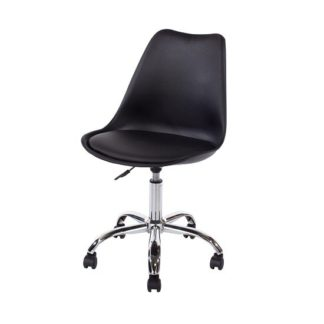 An Image of Cargo Office Chair In Black With Chrome Base