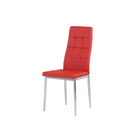 An Image of Cosmo Dining Chair In Red Faux Leather With Chrome Legs