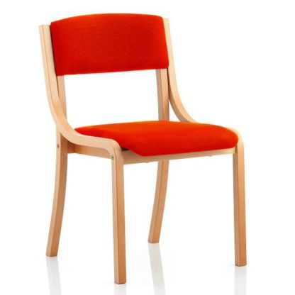 An Image of Charles Office Chair In Pimento And Wooden Frame