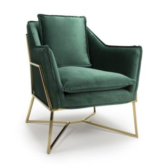 An Image of Carrello Arm Chair In Brushed Velvet Green With Gold Frame