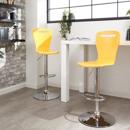 An Image of Long Island Yellow Wooden Gas-lift Bar Stools In Pair