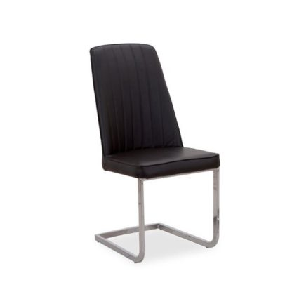 An Image of Bolza Dining Chair In Black With Chrome Legs
