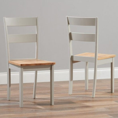 An Image of Antlia Oak And Grey Wooden Dining Chairs In Pair