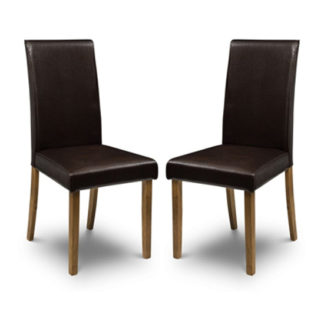 An Image of Hudson Brown Faux Leather Dining Chair In Pair
