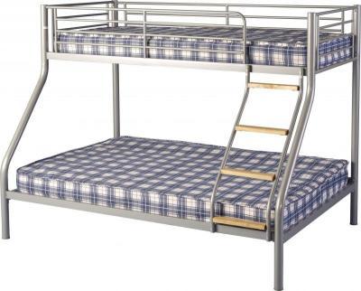 An Image of Toby Triple Sleeper Metal Bunk Bed in Silver