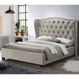An Image of Lauren Fabric King Size Bed In Champagne
