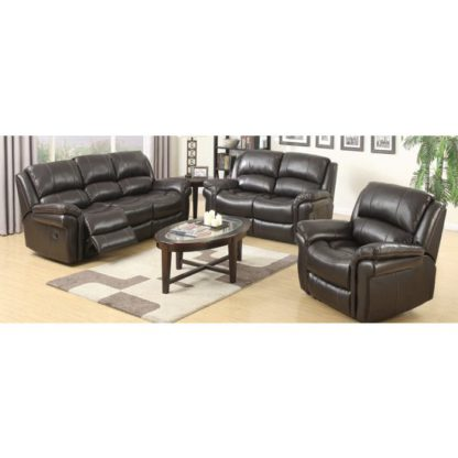 An Image of Lerna Leather 3 Seater Sofa And 2 Armchairs Suite In Brown