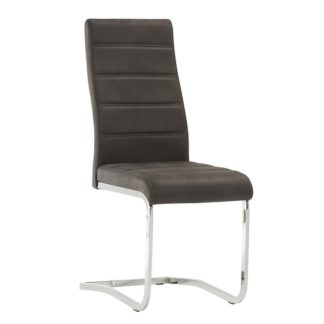 An Image of Justin Cantilever Dining Chair In Grey PU With Chrome Base