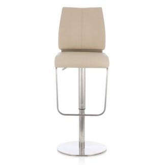 An Image of Terry Bar Stool In Taupe Faux Leather And Stainless Steel Base