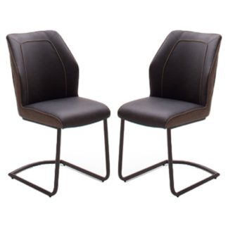 An Image of Aberdeen Brown PU Leather Dining Chair In Pair