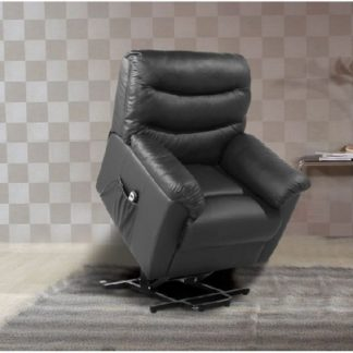 An Image of Henrick Modern Rise And Recliner Chair In Black Faux Leather