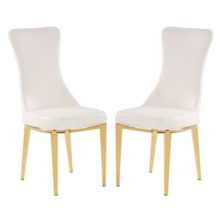 An Image of Denebola White PU Leather Dining Chair In Pair