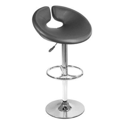 An Image of Generoso Black Leather Bar Stool With Chrome Base