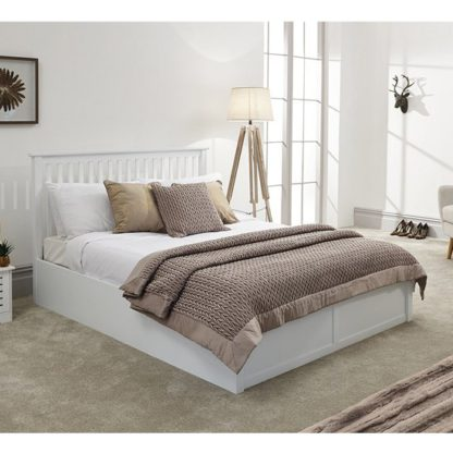 An Image of Como Wooden Ottoman Double Bed In White