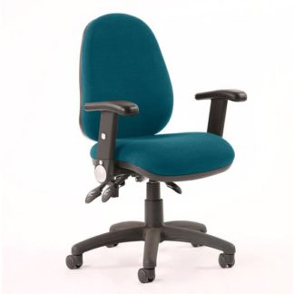 An Image of Luna II Office Chair In Maringa Teal With Folding Arms