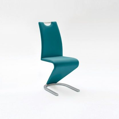An Image of Amado Dining Chair In Petrol Faux Leather With Chrome Base