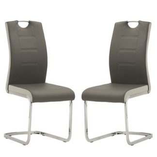 An Image of Samson Cantilever Dining Chair In Grey Faux Leather In A Pair