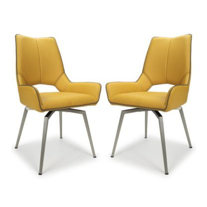 An Image of Mako Swivel Leather Effect Yellow Dining Chairs In Pair