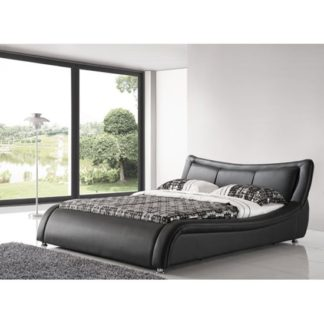 An Image of Zanbury King Size Bed In Black Faux Leather With Aluminium Legs