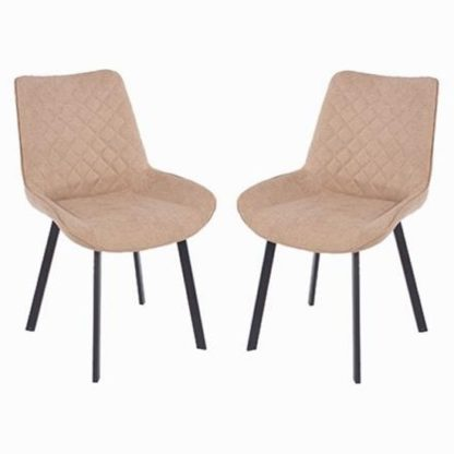 An Image of Arturo Fabric Sand Dining Chair In Pair With Metal Black Legs