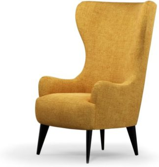 An Image of Custom MADE Bodil Accent Armchair, Imperial Yellow with Black Wood Leg