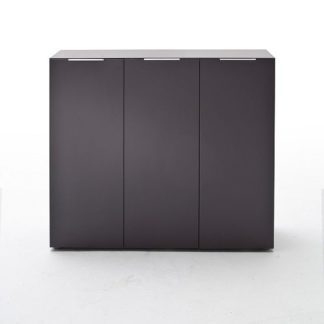 An Image of Genie Wide Shoe Cabinet In Matt Anthracite With 3 Doors