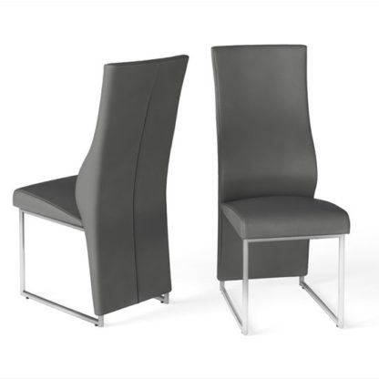 An Image of Remo Grey Faux Leather Dining Chairs In Pair