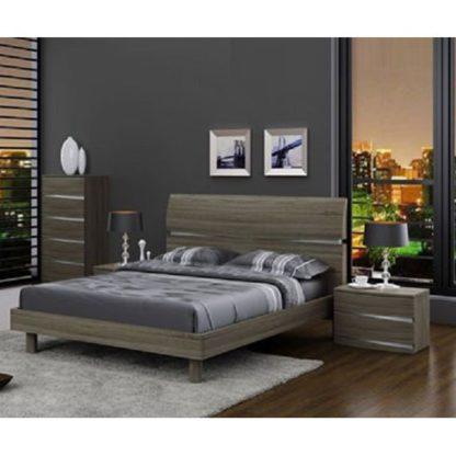An Image of Janet Modern Wooden Effect Double Bed In Oak