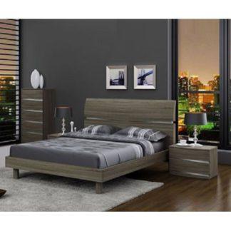 An Image of Janet Modern Wooden Effect King Size Bed In Oak