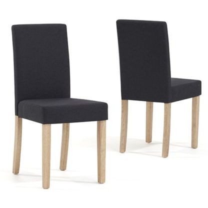 An Image of Miram Charcoal Black Weave Fabric Dining Chairs In Pair