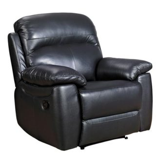 An Image of Aston Leather Recliner Sofa Chair In Black