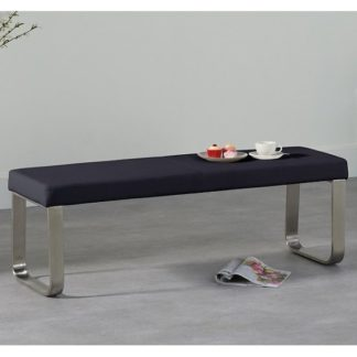 An Image of Washington Medium Dining Bench In Black Faux Leather