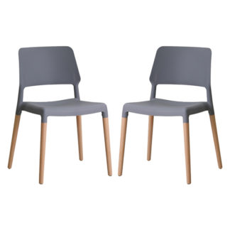 An Image of Riva Grey Finish Dining Chairs In Pair