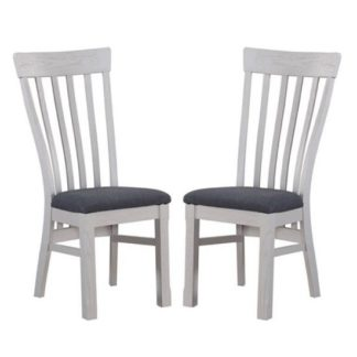 An Image of Trevino Wooden Dining Chairs In Antique Grey In A Pair