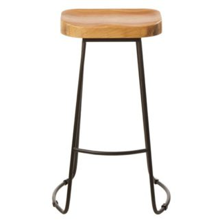 An Image of Gomeisa Oak Wood Bar Stool With Metal Base
