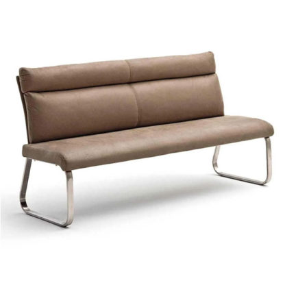 An Image of Rabea Fabric Large Dining Bench In Sand With Steel Frame