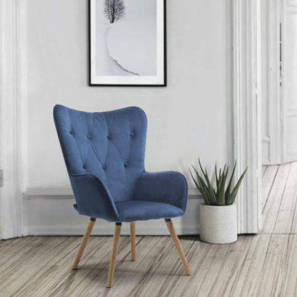 An Image of Willow Fabric Bedroom Armchair In Midnight Blue
