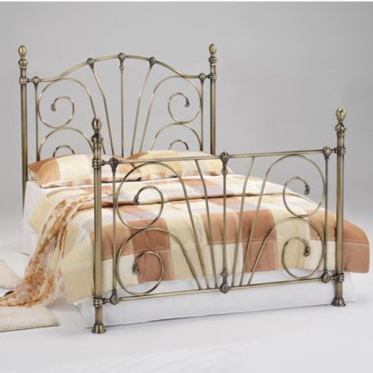 An Image of Beatrice Metal King Size Bed In Antique Brass