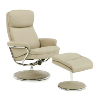 An Image of Berkeley Swivel Recliner Chair In Taupe Faux Leather