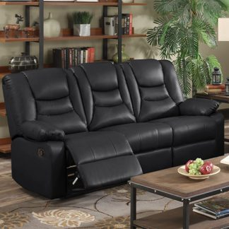 An Image of Gruis LeatherGel And PU Recliner 3 Seater Sofa In Black