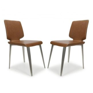 An Image of Skypod Urban Tan Armless Leather Effect Dining Chair In A Pair